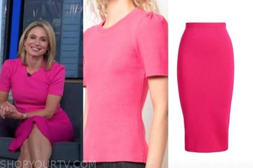 amy robach, pink knit top and skirt, good morning america