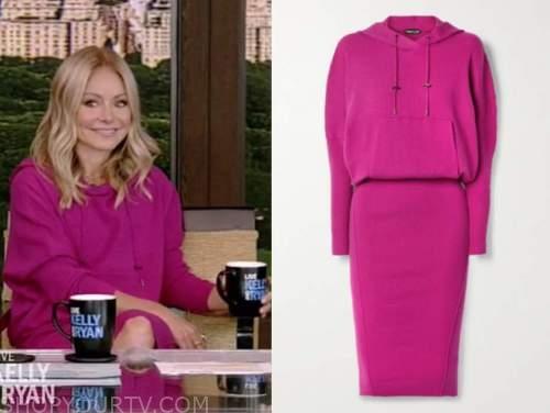 kelly ripa, live with kelly and ryan, fuschia pink hoodie sweater dress