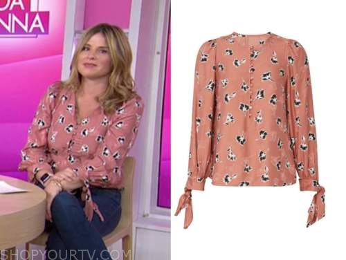 jenna bush hager, the today show, pink floral tie sleeve blouse