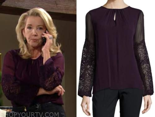 nikki newman, melody thomas scott, purple lace blouse, the young and the restless
