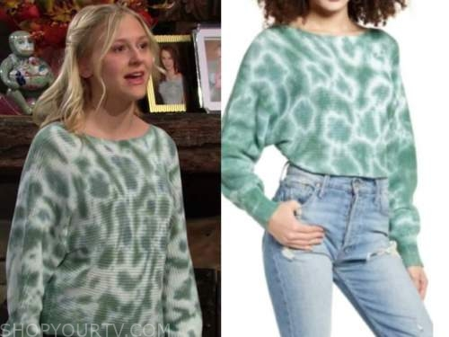 faith newman, alyvia alyn lind, green tie dye sweater, the young and the restless