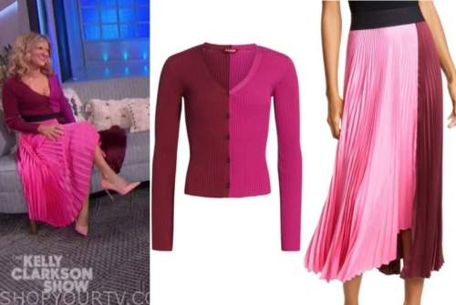 arden myrin, the kelly clarkson show, pink two tone sweater, pleated skirt