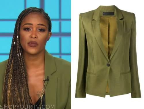 the talk, olive green blazer, eve