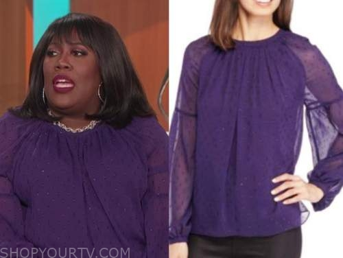 sheryl underwood, the talk, purple metallic dot blouse