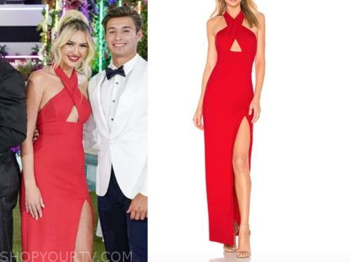 laurel, love island usa, red halter cutout slit gown, finale dress