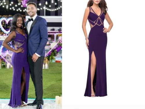justine, love island usa, purple illusion slit gown, finale dress