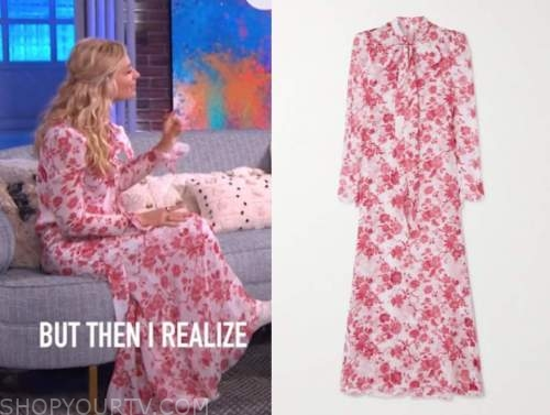 beth behrs, the kelly clarkson show, red and white printed maxi dress