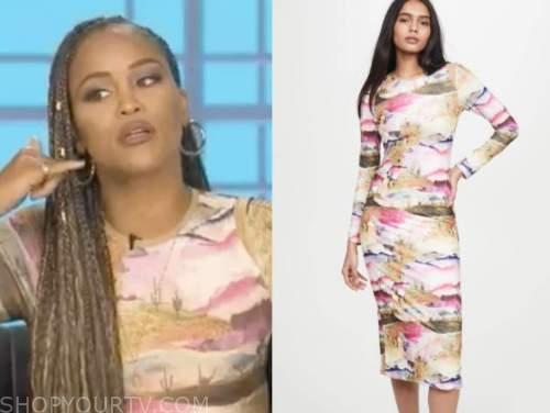 eve, the talk, pink desert print dress