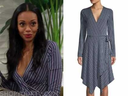 mishael morgan, amanda sinclair, the young and the restless, blue striped wrap dress