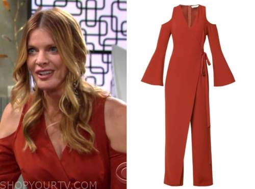 michelle stafford, phyllis newman, orange cold-shoulder jumpsuit, the young and the restless