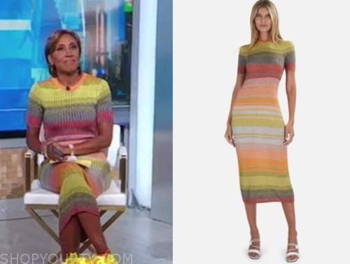 robin roberts, good morning america, multicolor knit dress