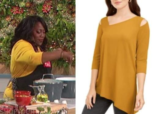 sheryl underwood, yellow cold-shoulder top, the talk