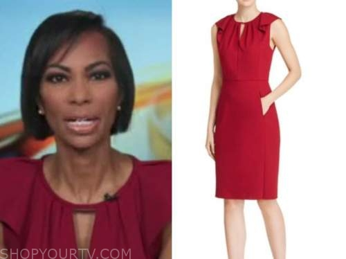 harris faulkner, outnumbered, red keyhole dress