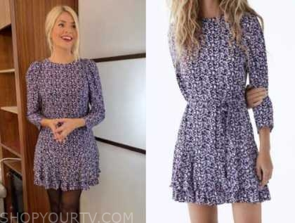 holly willoughby, this morning, purple dress