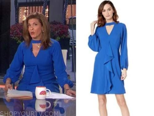hoda kotb, the today show, blue keyhole ruffle dress
