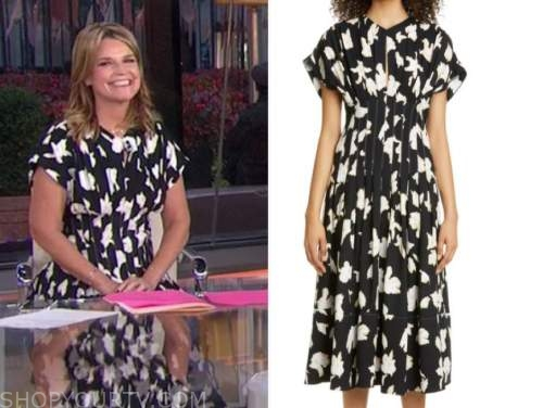 savannah guthrie, the today show, black and white printed midi dress