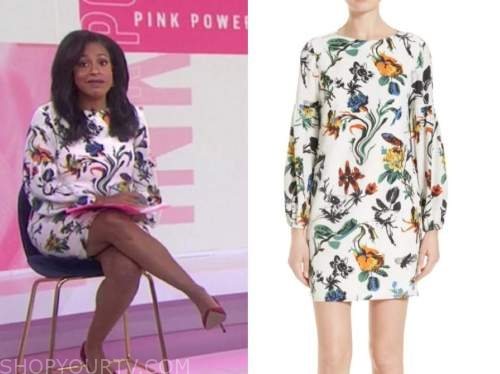 sheinelle jones, the today show, white floral shift dress