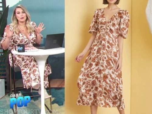 carissa culiner, E! news, brown and white floral midi dress