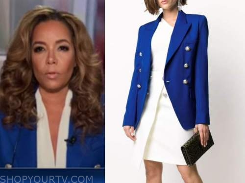 sunny hostin, the view, blue double breasted blazer