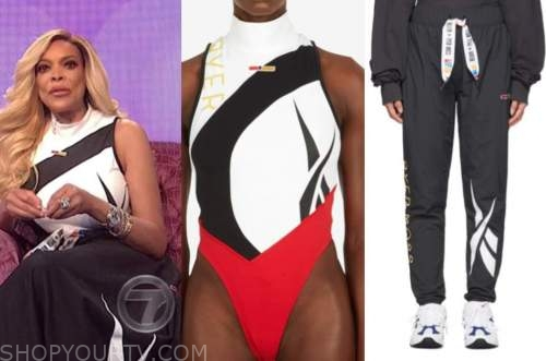 wendy williams, the wendy williams show, black and white bodysuit, black pants