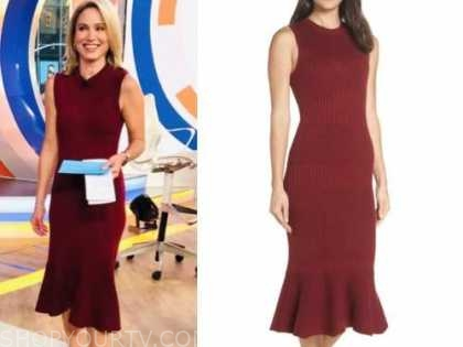 amy robach, good morning america, red sweater dress