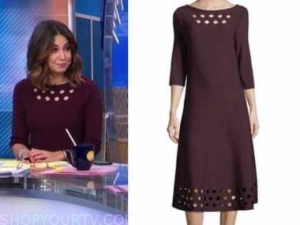 cecilia vega, burgundy cutout dress, good morning america