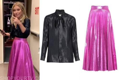 live with kelly and ryan, kelly ripa, birthday outfit, pink pleated metallic skirt, metallic stripe blouse