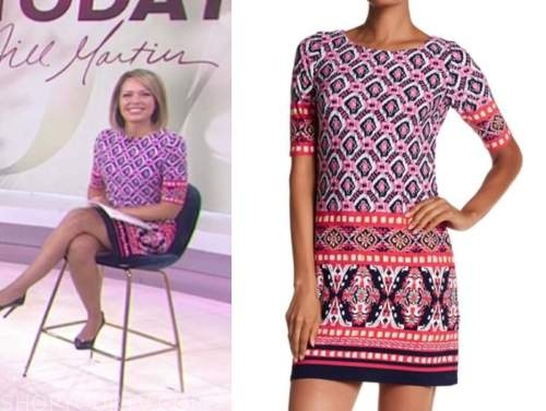 dylan dreyer, pink geometric shift dress, the today show