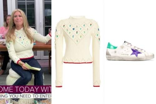 jill martin, the today show, ivory floral pom sweater, purple and green sneakers