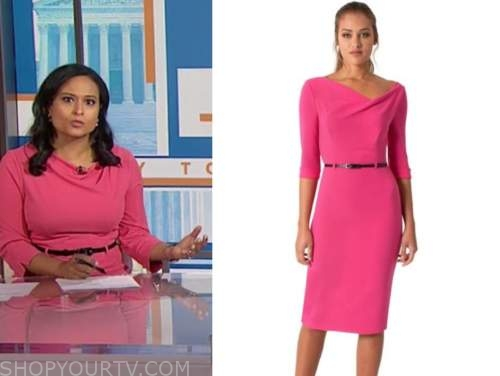 kristen welker, the today show, pink belted sheath dress