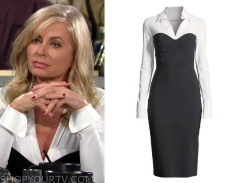 ashley abbott, the young and the restless, black and white dress, eileen davidson