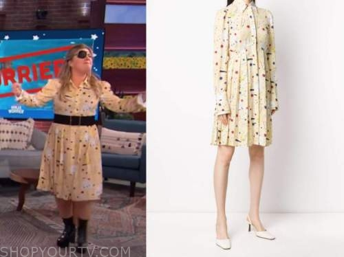 kelly clarkson, the kelly clarkson show, yellow printed pleated shirt dress
