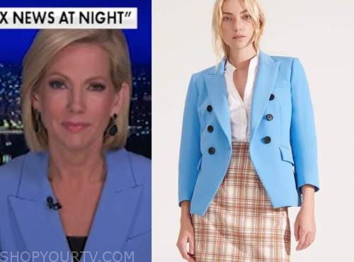 shannon bream, fox news at night, blue double breasted blazer