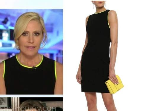 outnumbered, melissa francis, black and yellow contrast trim sheath dress