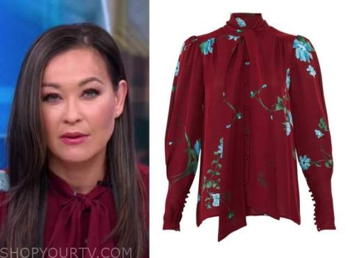 eva pilgrim, good morning america, burgundy floral tie neck blouse