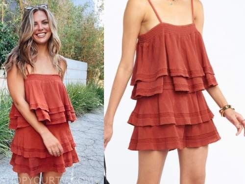 hannah brown, rust orange tiered dress, the bachelorette