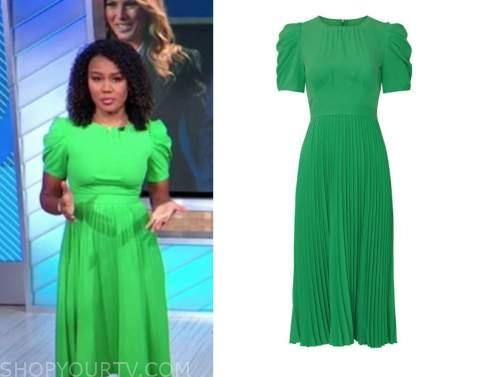 janai norman, good morning america, green puff sleeve midi dress