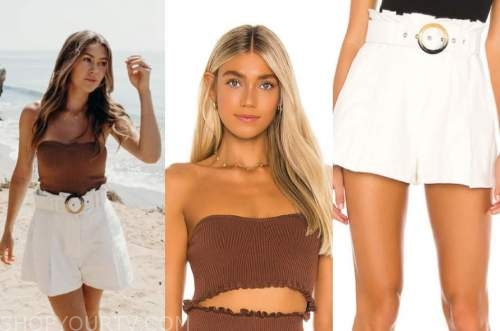 caelynn miller-keyes, brown crop top, ivory belted shorts, the bachelor