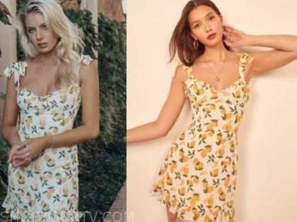 emily ferguson, lemon printed dress, the bachelor