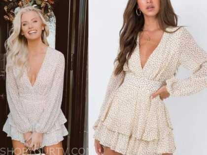emily ferguson, the bachelor, beige dot ruffle romper dress