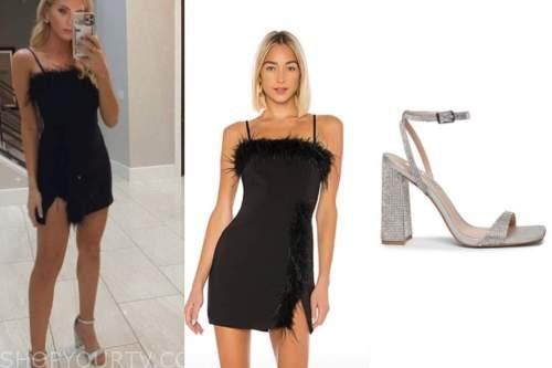 haley ferguson, the bachelor, black feather mini dress, sparkly sandals