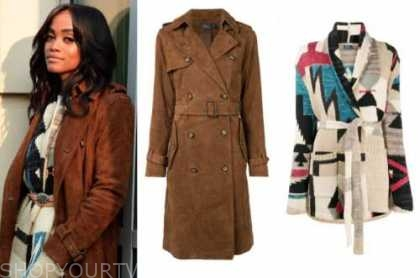 rachel lindsay, the bachelorette, brown trench coat, cardigan sweater