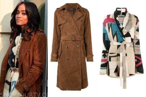 rachel lindsay, the bachelorette, brown trench coat, cardigan sweater