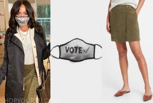rachel lindsay, the bachelorette, vote face mask, green suede skirt