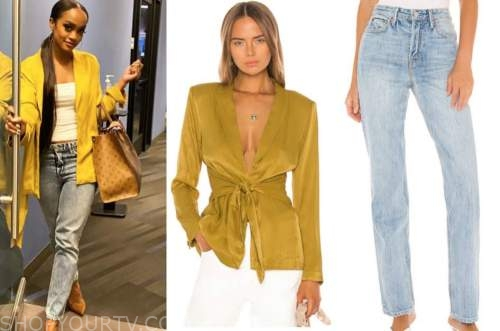 rachel lindsay, the bachelorette, yellow jacket, faded jeans, the bachelorette