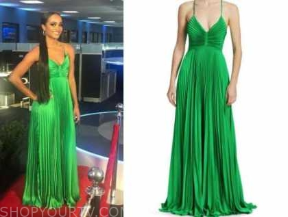 rachel lindsay, green pleated gown, the bachelorette