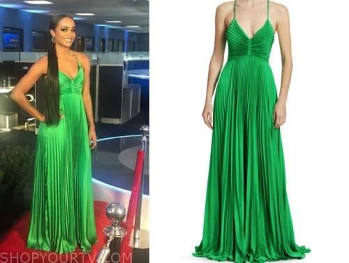 rachel lindsay, green pleated gown, the bachelorette