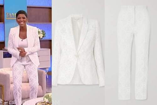 tamron hall, tamron hall show, white lace blazer and pants suit