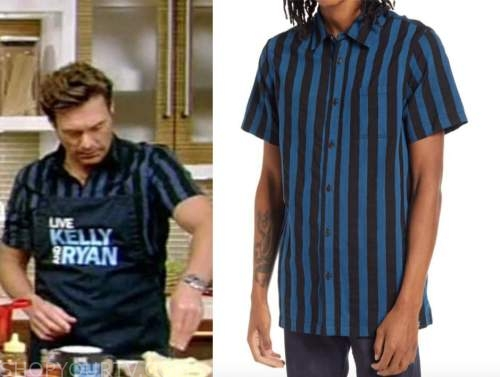 ryan seacrest, blue striped short sleeve shirt, live with kelly and ryan