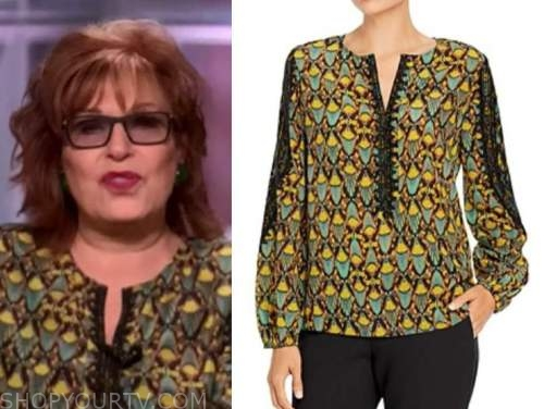 joy behar, black and yellow printed blouse, the view